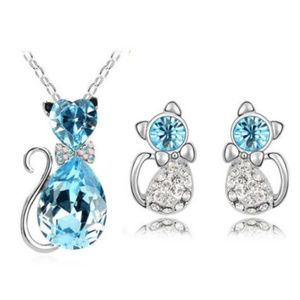 Jewelry - Light Blue Kitty Pendant Necklace And Earring Set